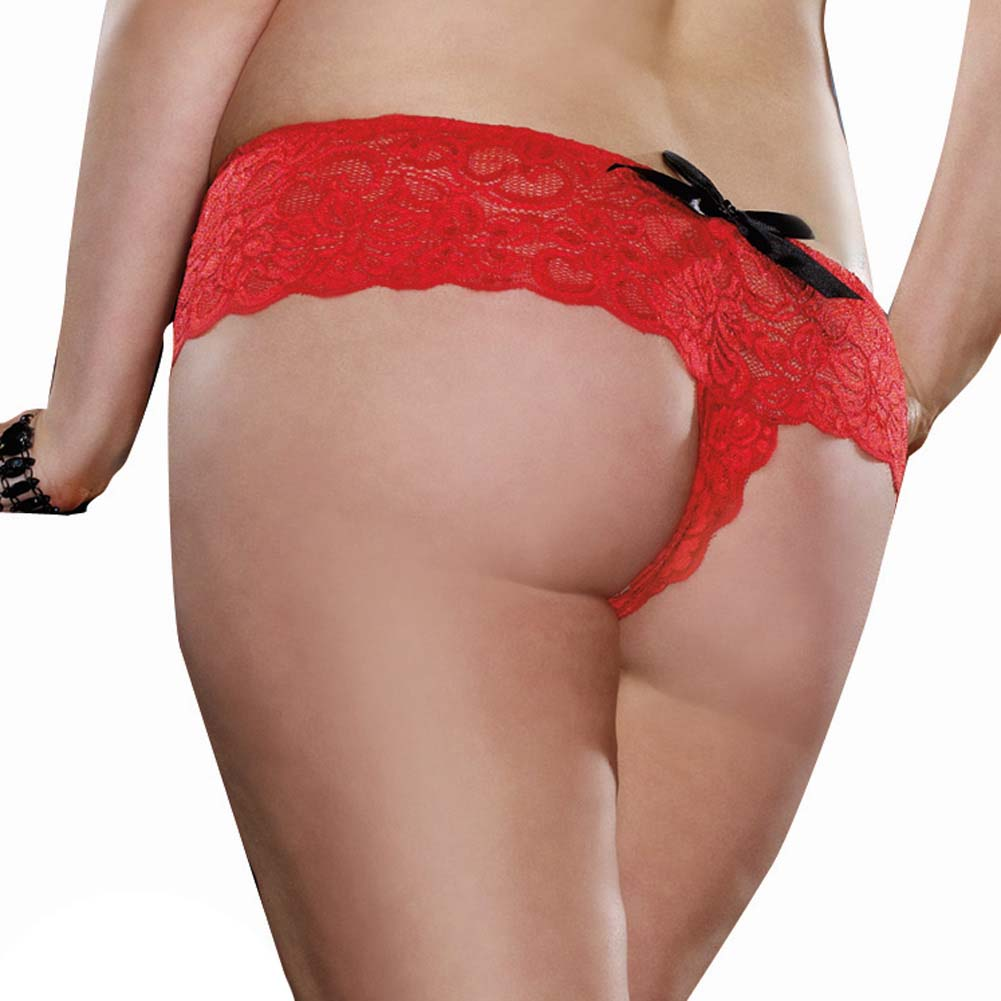 Dreamgirl Stretch Lace Open Crotch Boyshort Panty Plus Size 3X/4X Ruby Red - View #2