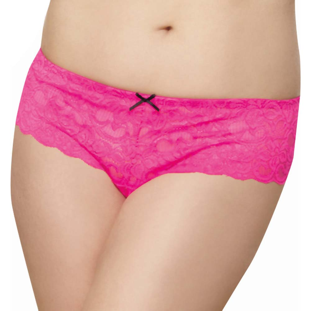 Dreamgirl Stretch Lace Open Crotch Boyshort Panty Plus Size 3X/4X Hot Pink - View #1