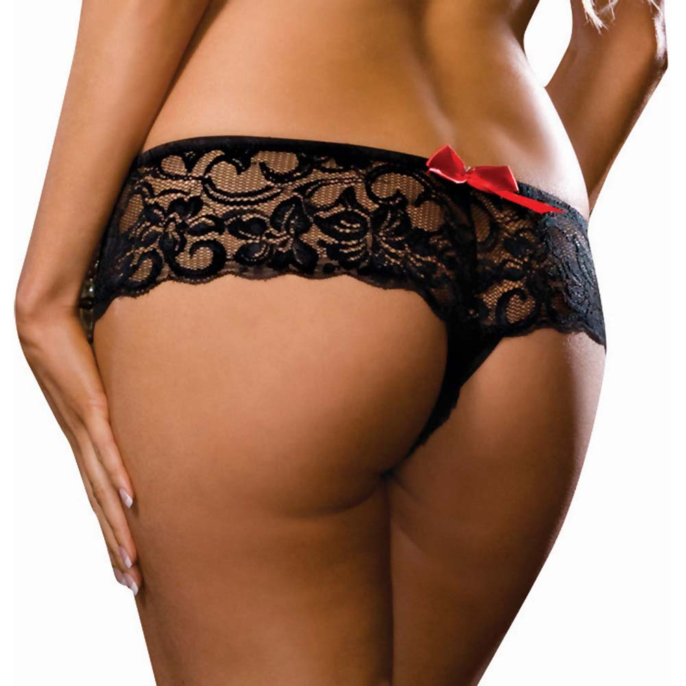 Dreamgirl Stretch Lace Open Crotch Boyshort Panty Plus Size 1X/2X Black - View #2