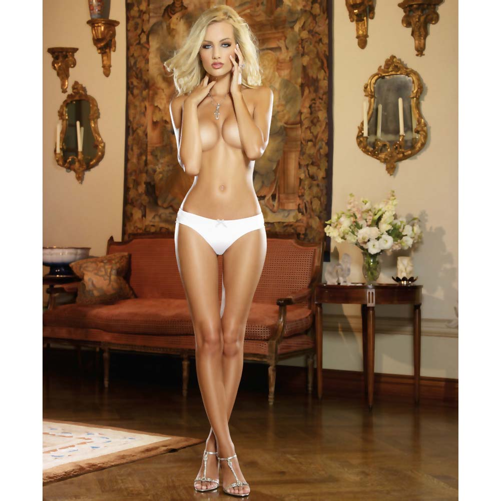 Dreamgirl Microfiber Cheeky Panty with Cross Dye Lace Back Small White Pearl - View #4