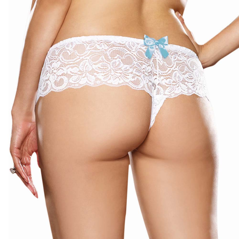 Dreamgirl Stretch Lace Open Crotch Boyshort Panty Plus Size 3X/4X White - View #2