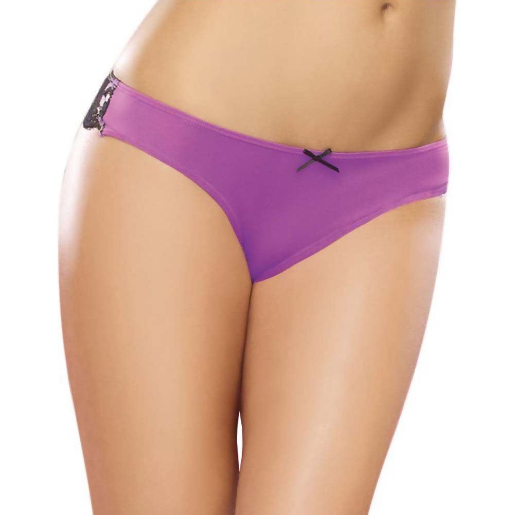 Dreamgirl Microfiber Cheeky Panty with Cross Dye Lace Back Satin Bow Trim Small Iris/Black - View #2