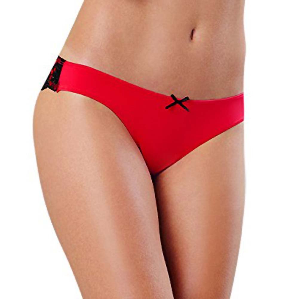 Dreamgirl Cheeky Panty with Cross Dye Lace Back Small Red - View #2