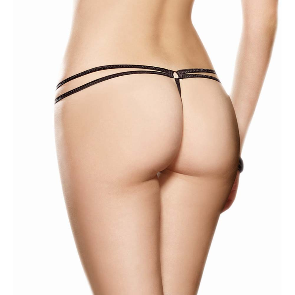 Dreamgirl Strappy Fishnet Thong Panty with Feather Tickler Medium/Large Black - View #2