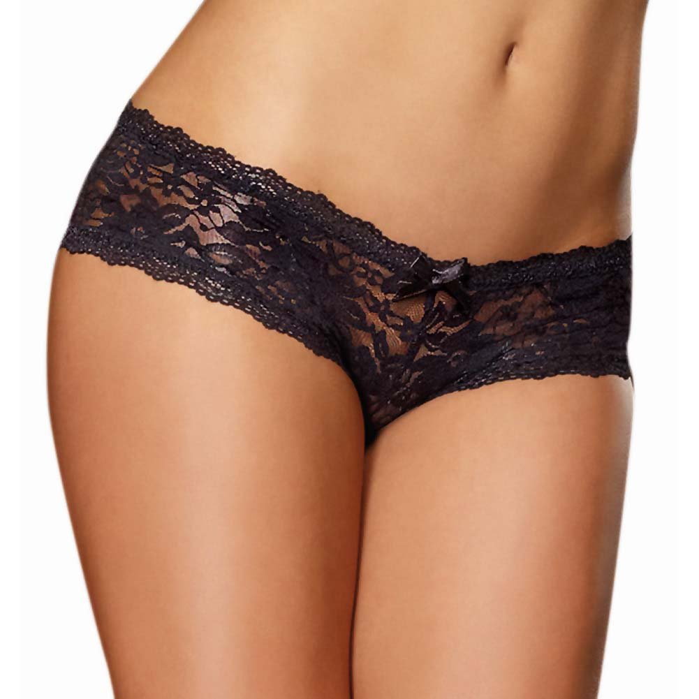 Dreamgirl Stretch Lace Low Rise Cheeky Hipster Panty Small Black - View #1