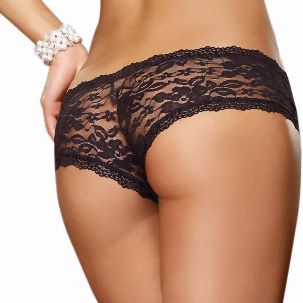 Dreamgirl Stretch Lace Low Rise Cheeky Hipster Panty Medium Black - View #2