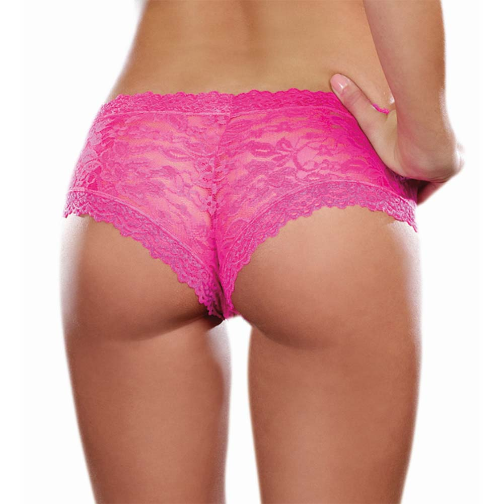 Dreamgirl Stretch Lace Low Rise Cheeky Hipster Panty Extra Large Hot Pink - View #2