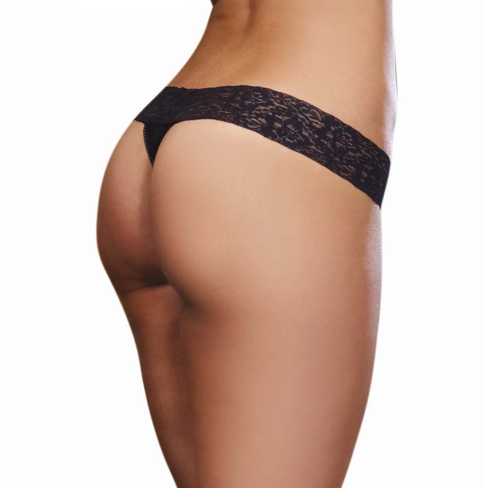 Dreamgirl Stretchy Lace Low Rise Thong with Lace Waistband One Size Classic Black - View #2