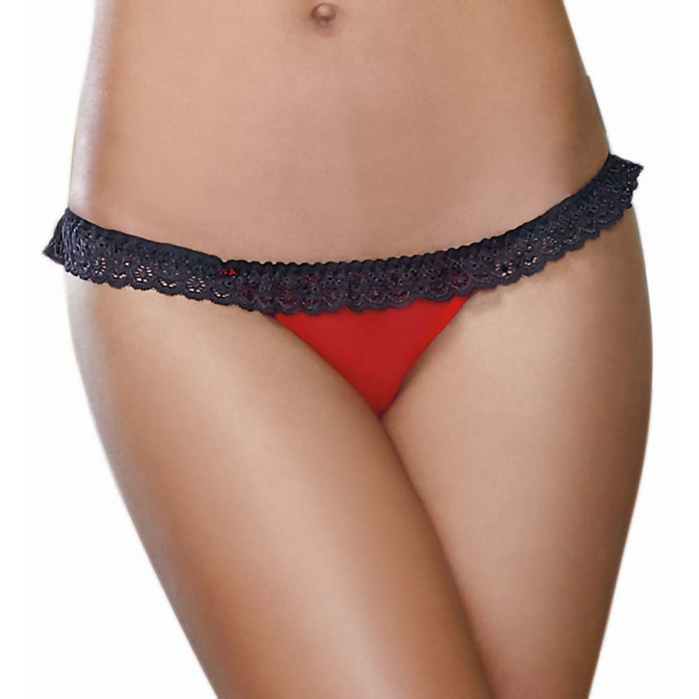 Dreamgirl Mesh Open Back Heart Cutout Panty Large Red - View #2