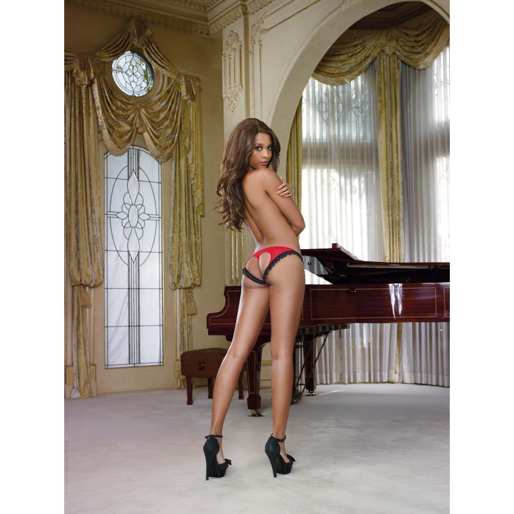 Dreamgirl Stretch Mesh Bikini Panty with Open Back Heart Cutout X Large Black/Red - View #3