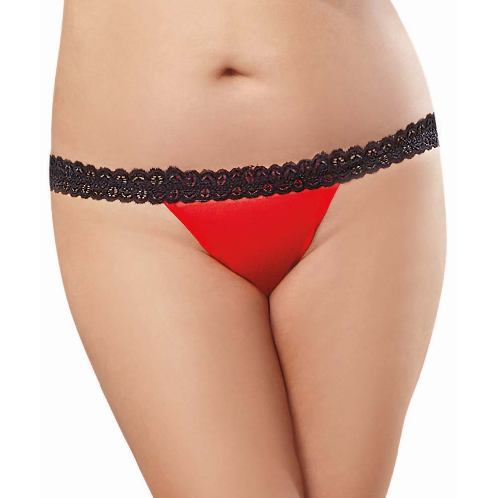 Dreamgirl Mesh Open Back Heart Cutout Panty 1X/2X Red - View #2