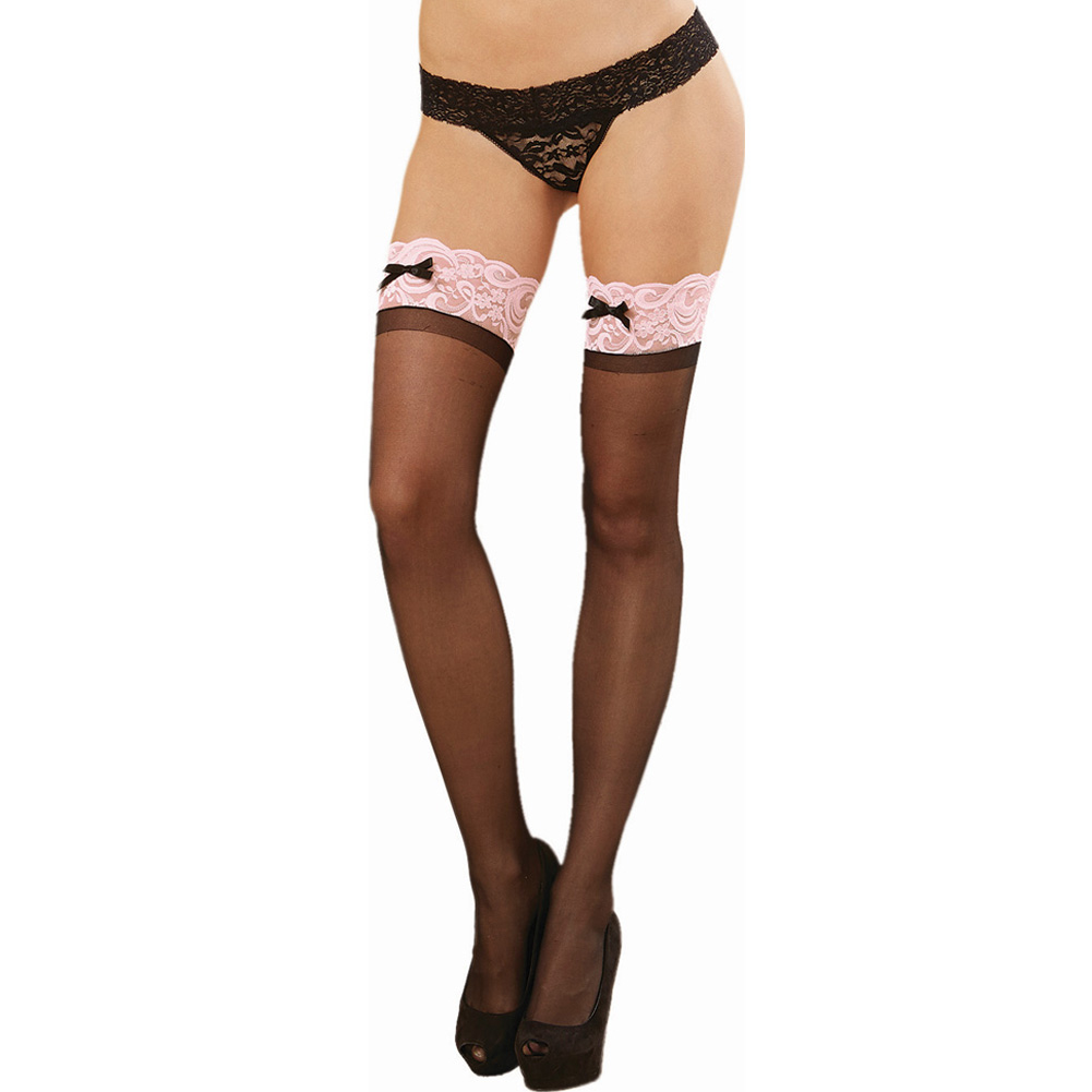 Dreamgirl Sheer Thigh High with Lace Top One Size Black/Pink - View #1