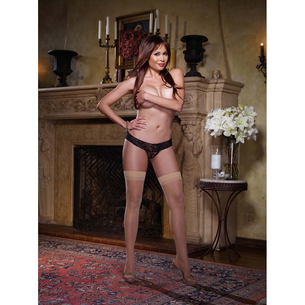 Dreamgirl Sheer Thigh High with Back Seam Queen Size Nude - View #4