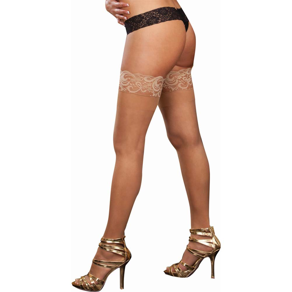 Dreamgirl Stay Up Sheer Thigh Highs with Lace Top Queen Size Nude - View #2