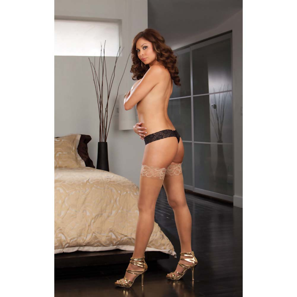 Dreamgirl Stay Up Sheer Thigh Highs with Lace Top Queen Size Nude - View #4