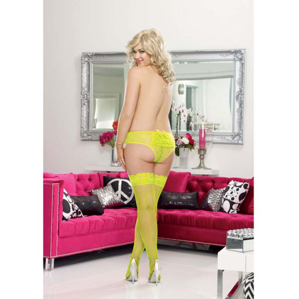 Dreamgirl Fishnet Stay Up Thigh High with Seam Plus Size Queen Lime - View #4