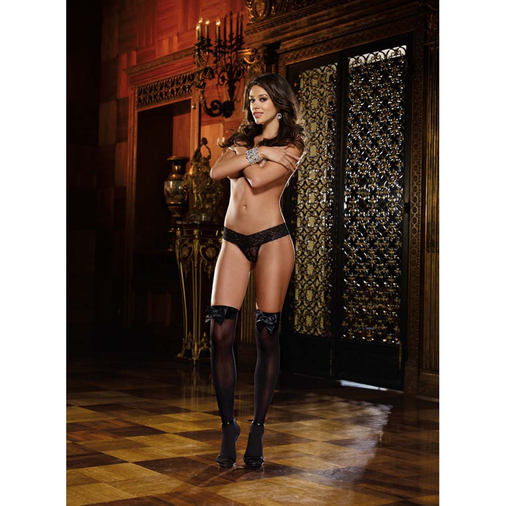 Dreamgirl Opaque Thigh High with Satin Bow One Size Black - View #3