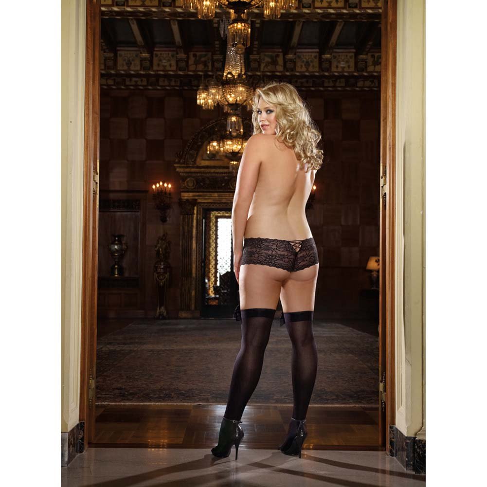 Dreamgirl Opague Thigh High with Satin Bow Queen Size Black - View #4