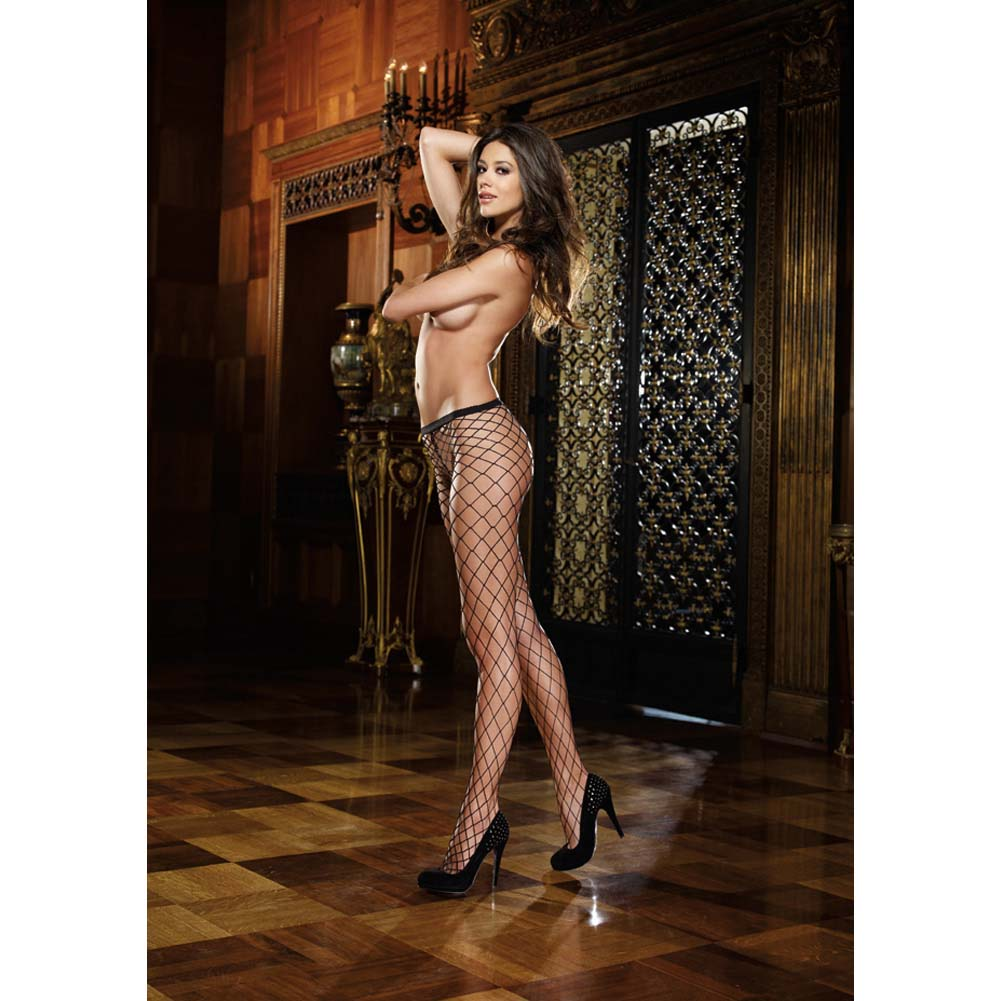 Dreamgirl Fence Net Odessa Pantyhose One Size Black - View #3