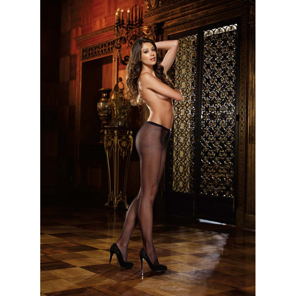 Dreamgirl Fence Net Barcalona Pantyhose One Size Black - View #4