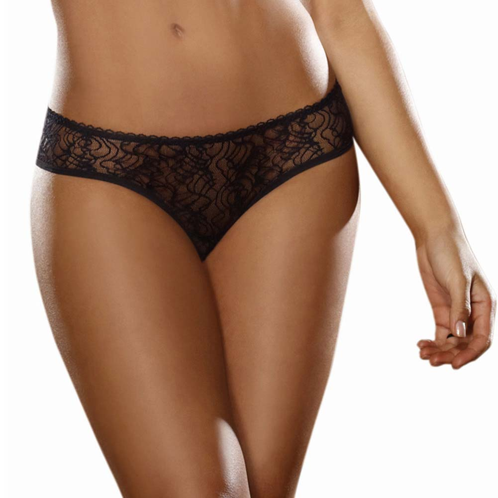 Dreamgirl Stretch Lace Crotchless Low Rise Panty with Ruffled Back Large Black - View #2