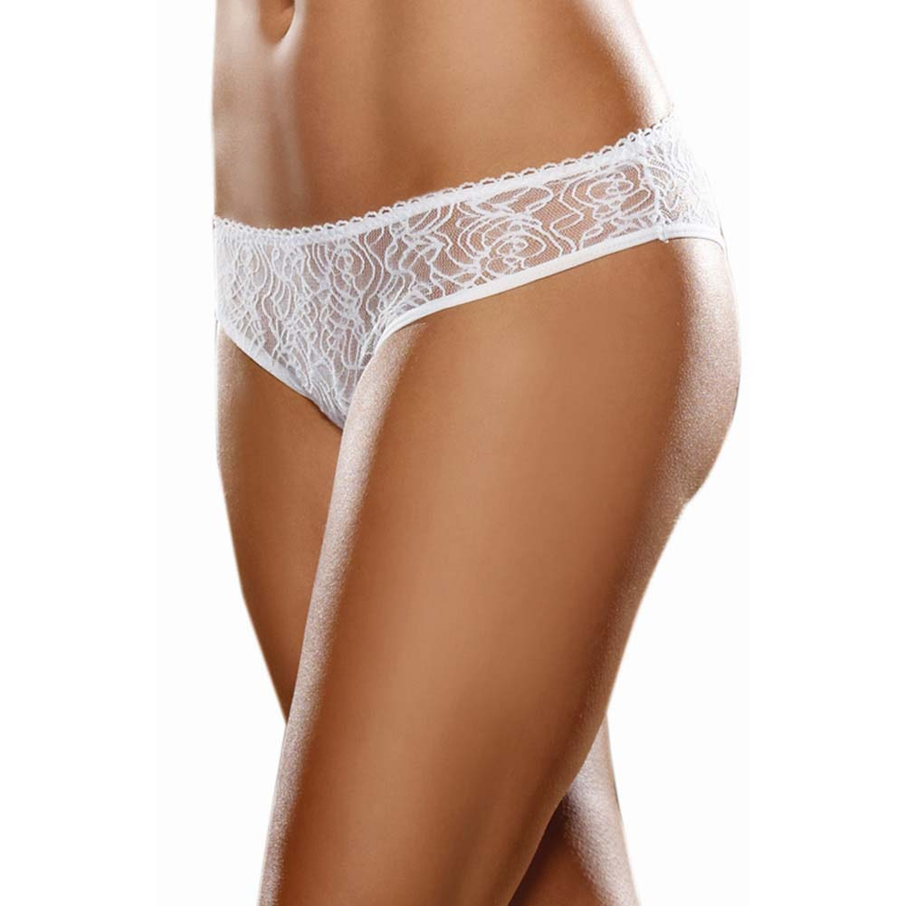 Dreamgirl Stretch Lace Crotchless Low Rise Panty with Ruffled Back Large White - View #2