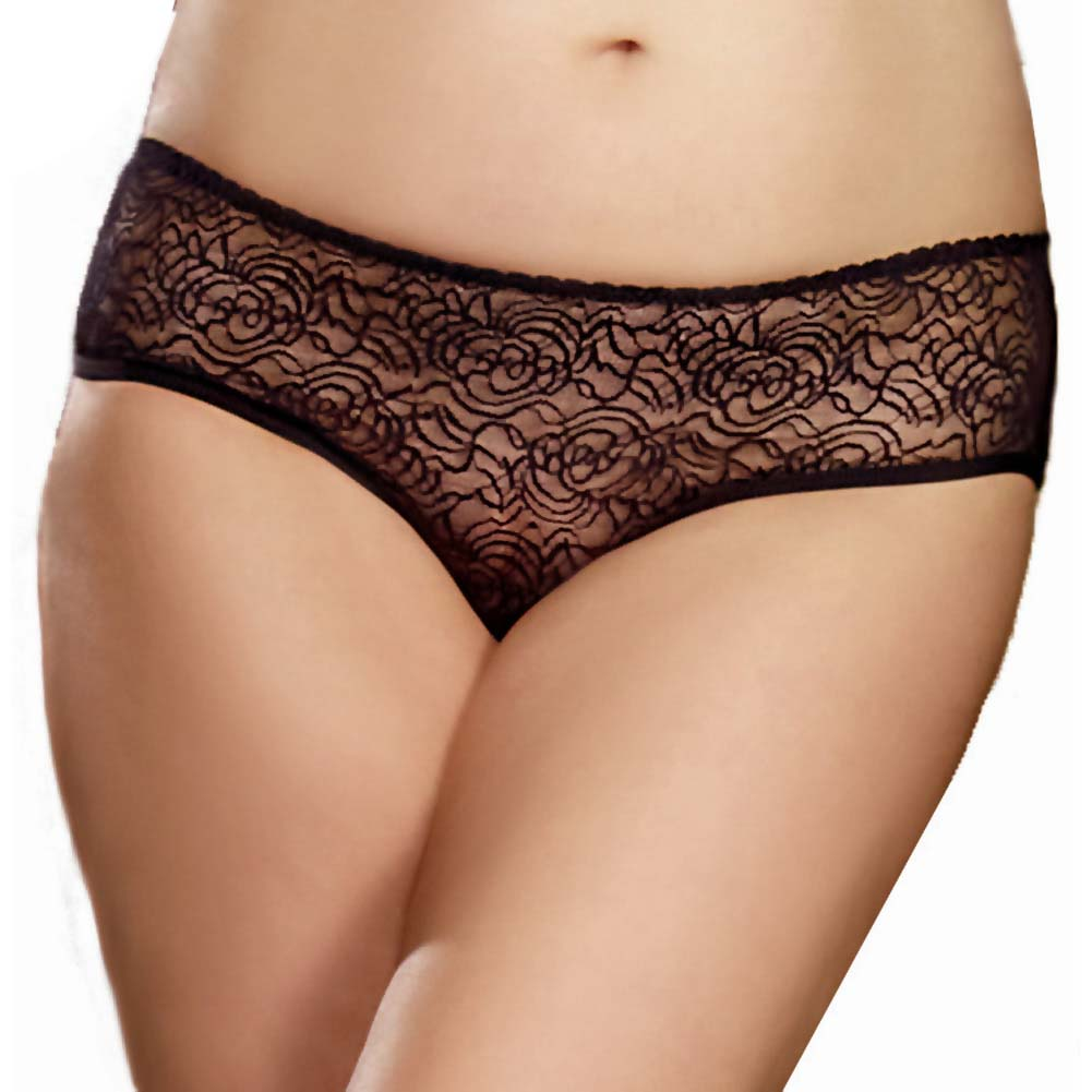 Dreamgirl Stretch Lace Crotchless Low Rise Panty with Ruffled Back 3X/4X Black - View #2