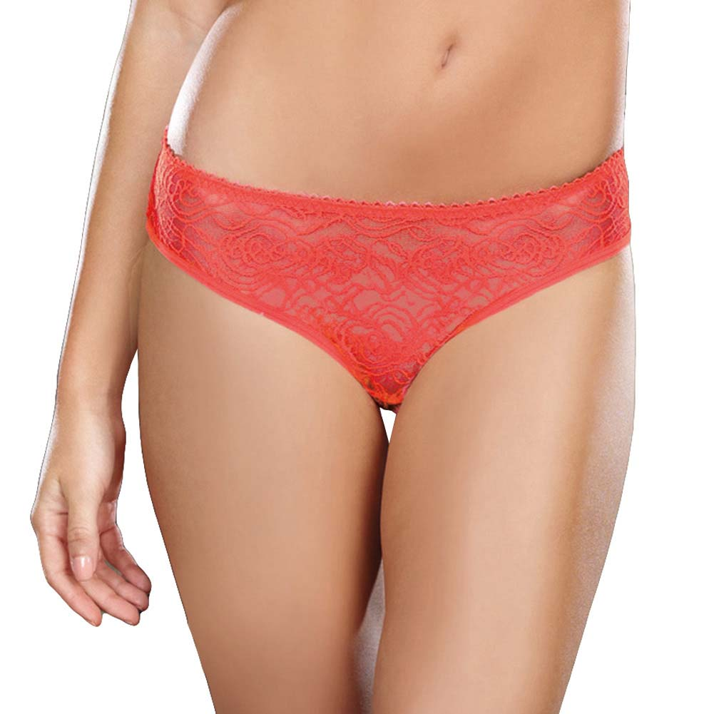 Dreamgirl Stretch Lace Crotchless Low Rise Panty with Ruffled Back Small Coral - View #2