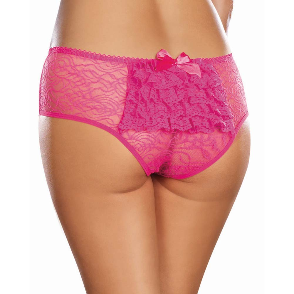 Dreamgirl Stretch Lace Crotchless Ruffled Panty 1X/2X Hot Pink - View #1