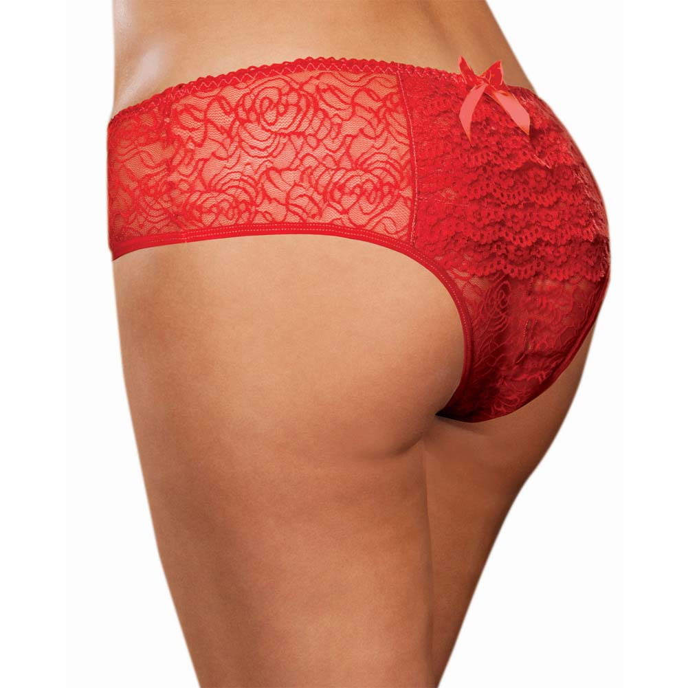 Dreamgirl Stretch Lace Crotchless Low Rise Panty with Ruffled Back 3X/4X Red - View #1