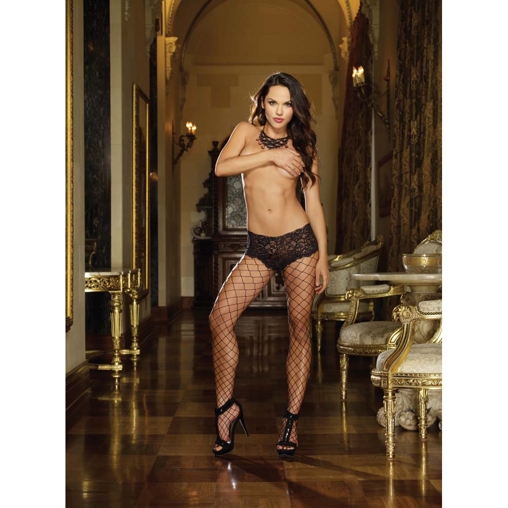 Dreamgirl Monaco Fence Net Pantyhose with Lace Boyshort Top One Size Black - View #3