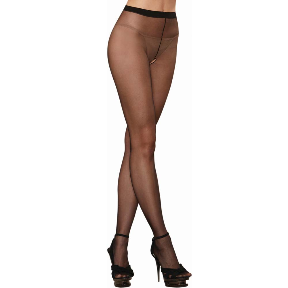 Dreamgirl Sheer Crotchless Pantyhose One Size Black - View #2