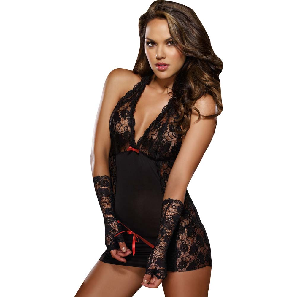 Dreamgirl Microfiber Halter Chemise with Stretch Lace Thong and Fingerless Glove One Size Black - View #1