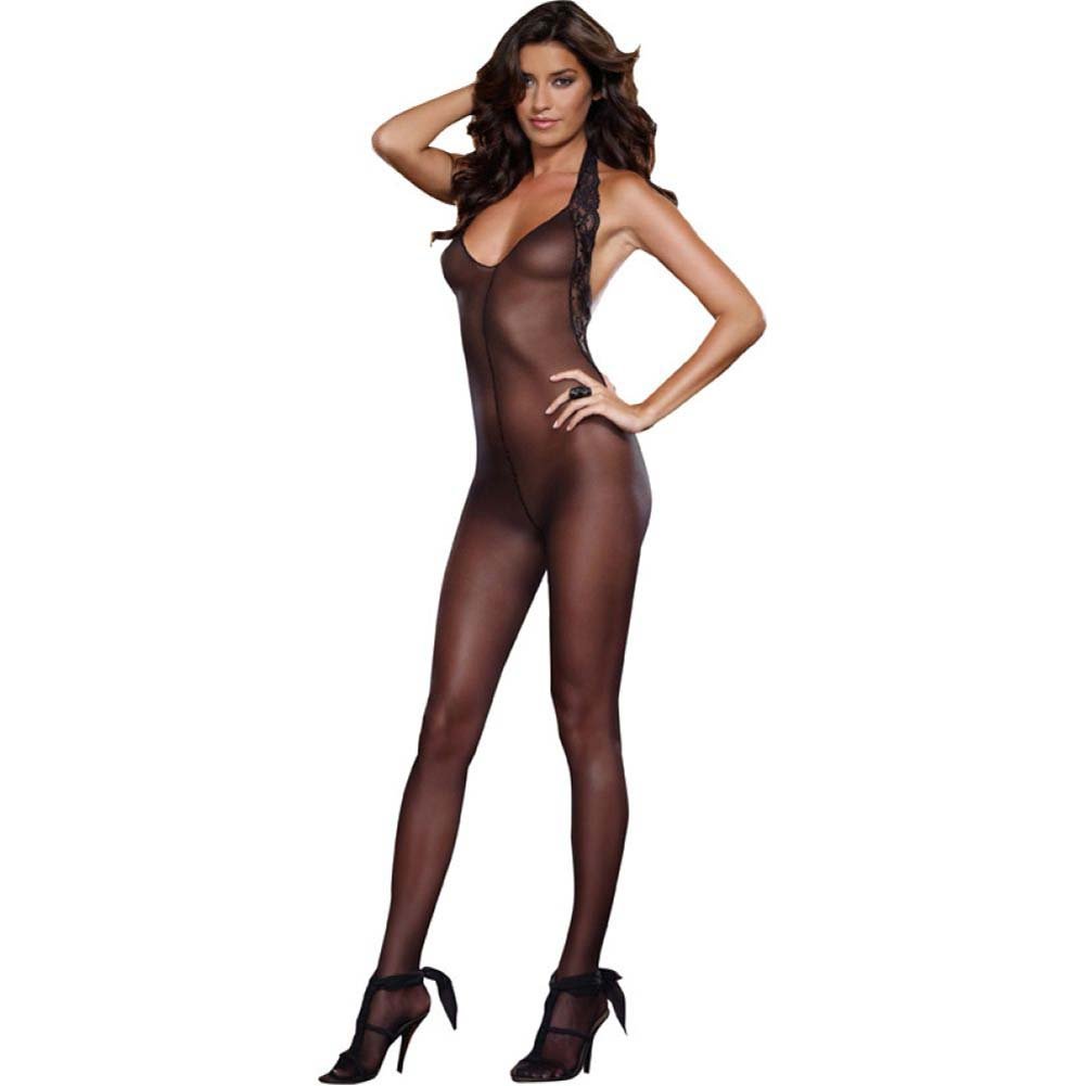 Dreamgirl Sheer Halter Bodystocking with Lace Trim and Low Back One Size Black - View #1