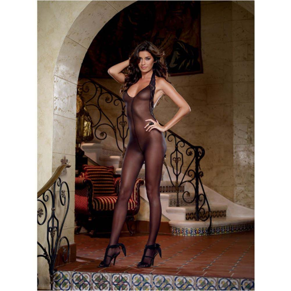 Dreamgirl Sheer Halter Bodystocking with Lace Trim and Low Back One Size Black - View #3