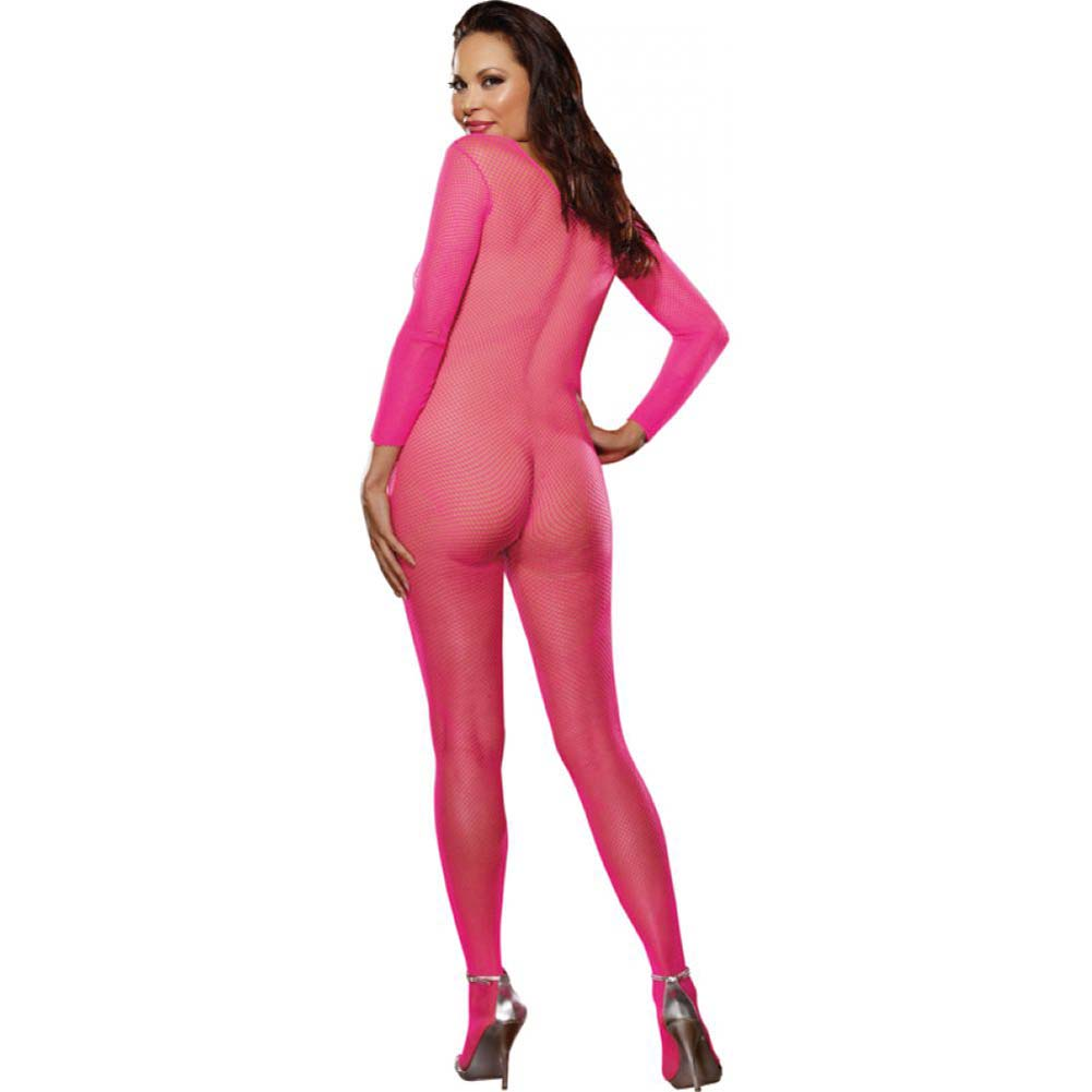 Dreamgirl Fishnet Long Sleeved Crotchless Bodystocking Queen Size Pink - View #2
