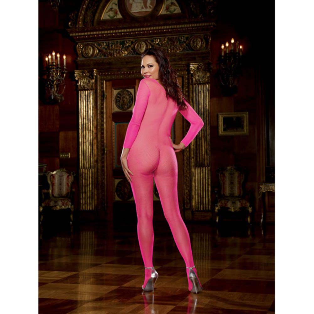 Dreamgirl Fishnet Long Sleeved Crotchless Bodystocking Queen Size Pink - View #4