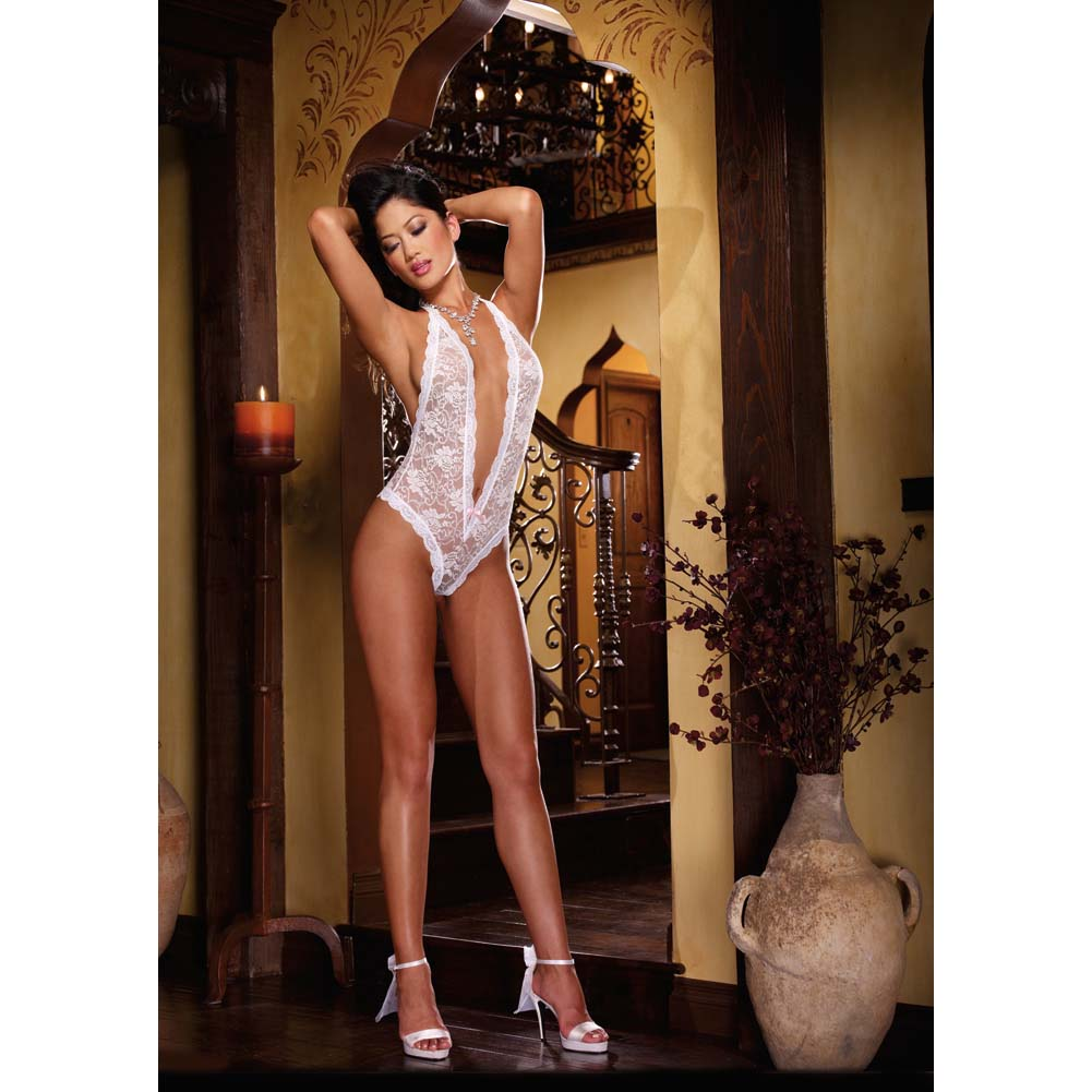 Dreamgirl Halter Stretch Lace Teddy with Plunging Neckline Halter Ties and Cut Out One Size White - View #3