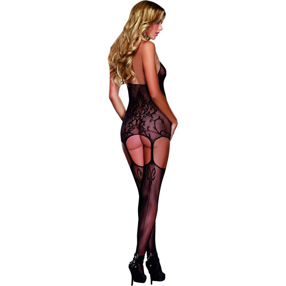 Dreamgirl Halter Garter Dress with Baroque Design Halter Tie and Stockings One Size Black - View #2