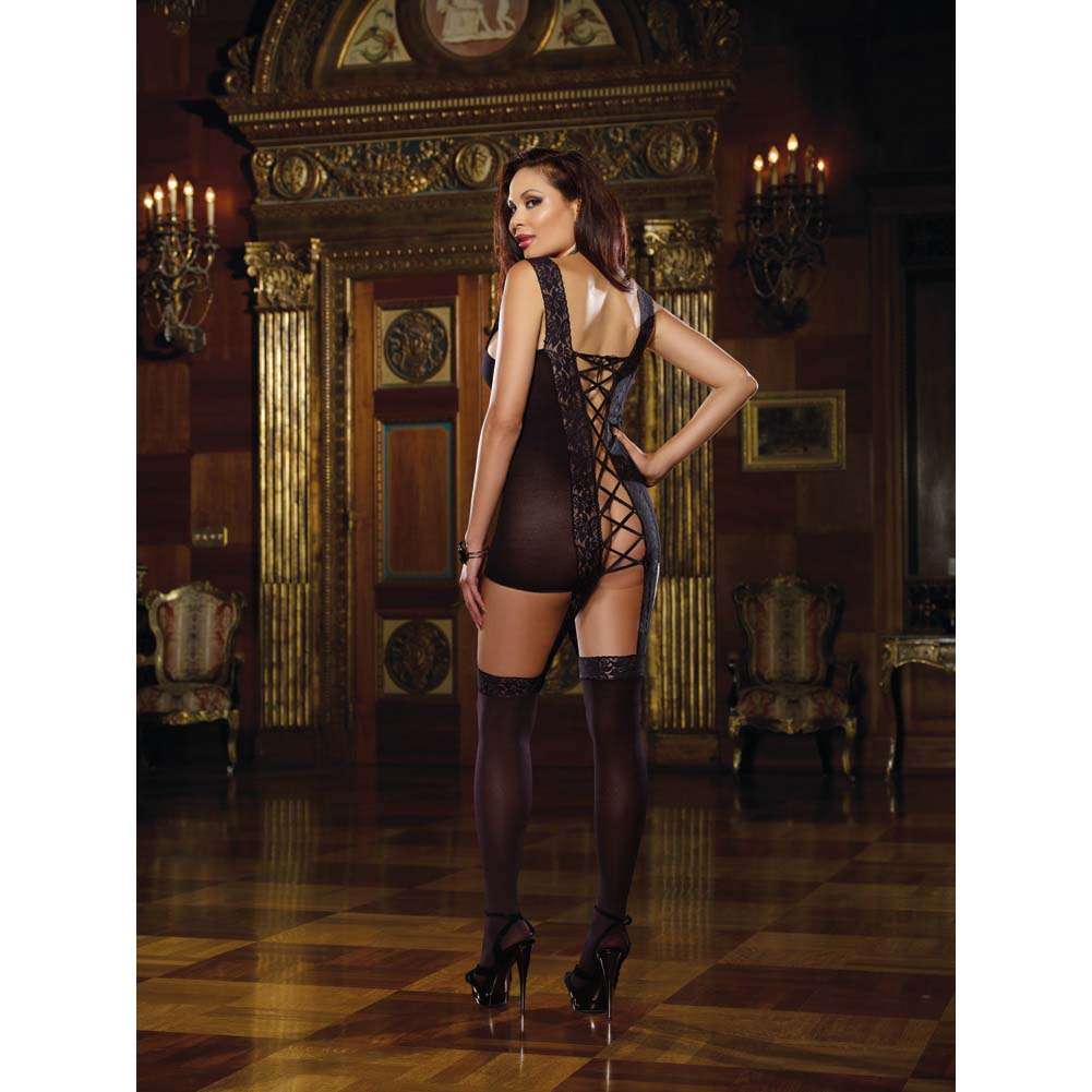 Lace Garter Dress with Stretch Straps Ribbon Back and Stockings Queen Size Black - View #3