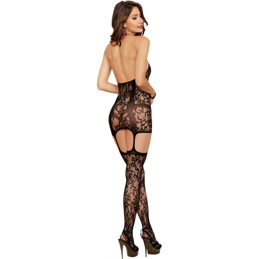 Dreamgirl Lace Fishnet Halter Garter Dress Halter Ties and Stockings One Size Black - View #2