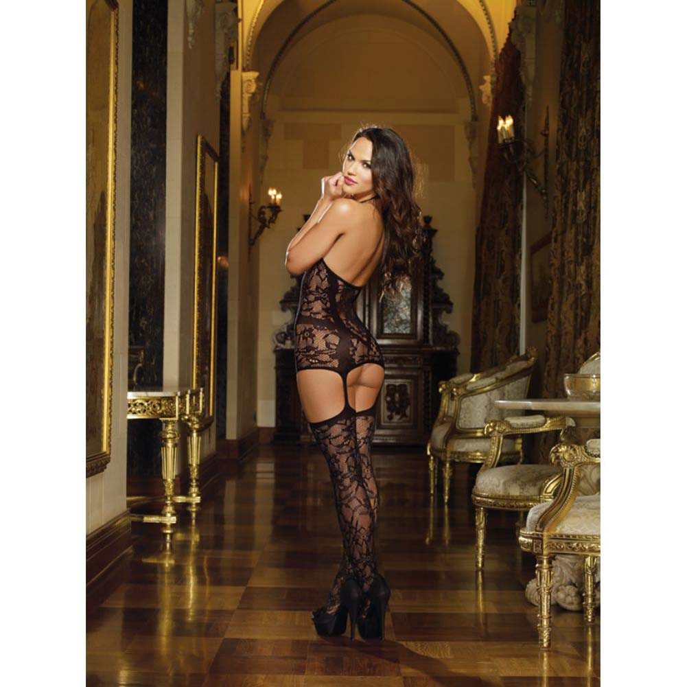 Dreamgirl Lace Fishnet Halter Garter Dress Halter Ties and Stockings One Size Black - View #4