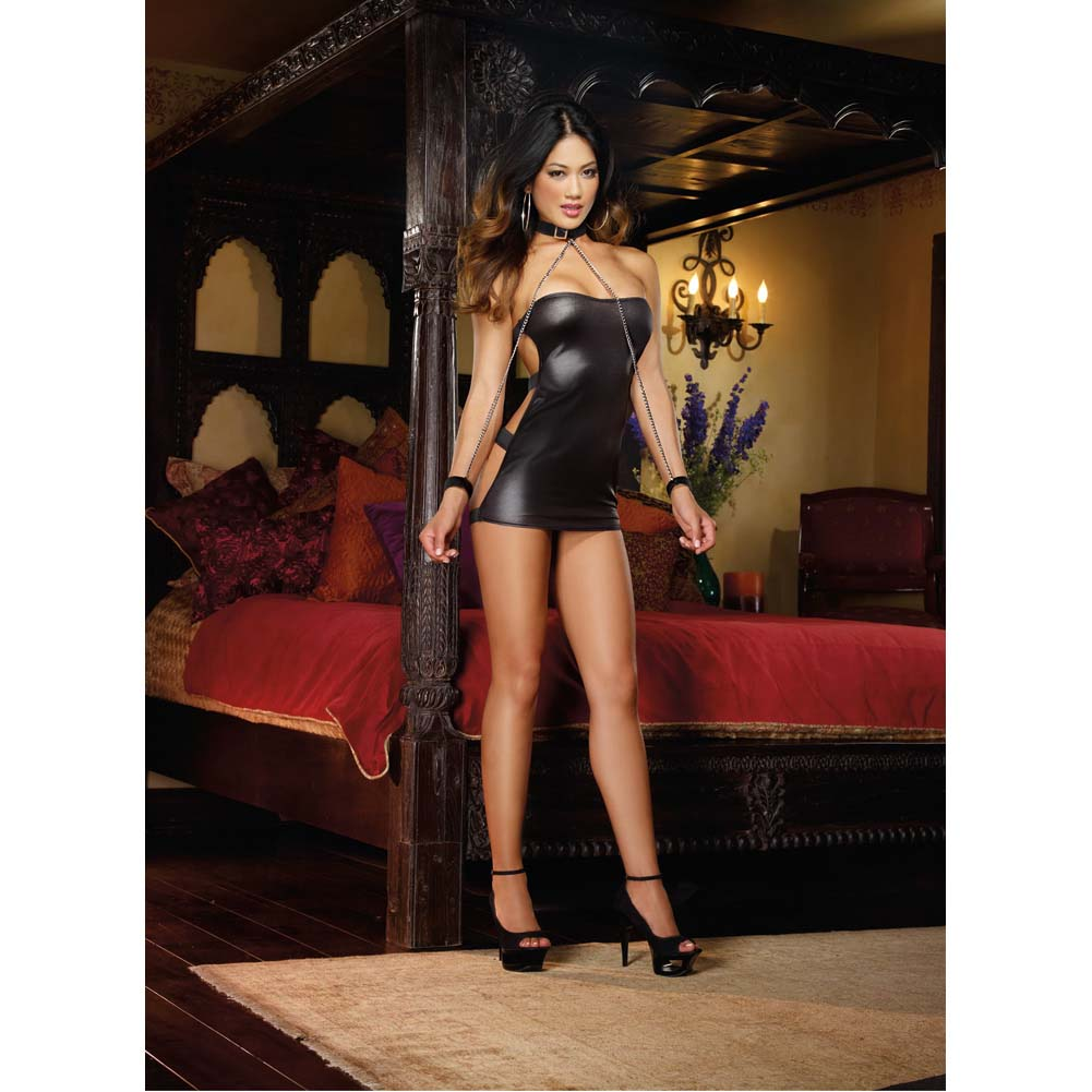 Shiny Stretch Strapless Dress with G-String Collar and Chain Wrist Cuffs One Size Black - View #3