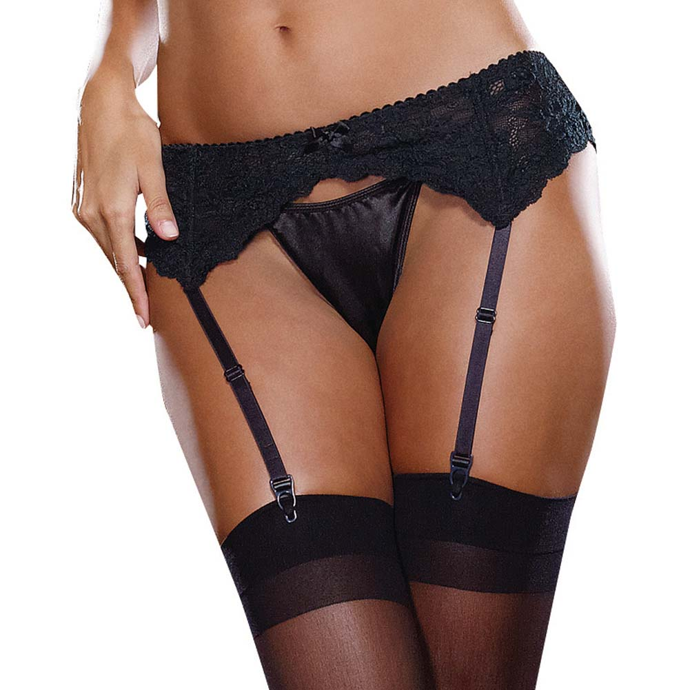 Dreamgirl Stretch Lace Garter Belt with Scalloped Hem One Size Black - View #1