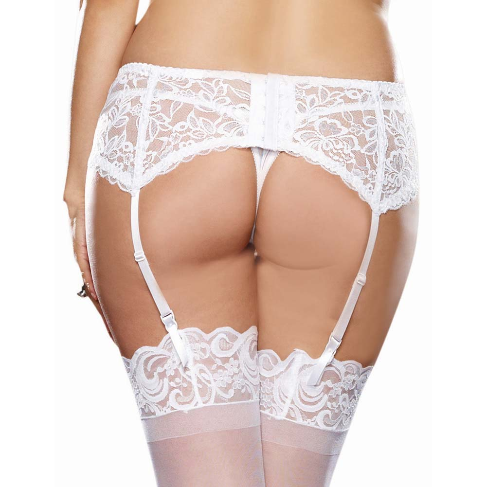 Dreamgirl Stretch Lace Garter Belt with Scalloped Hem Plus Size White - View #2