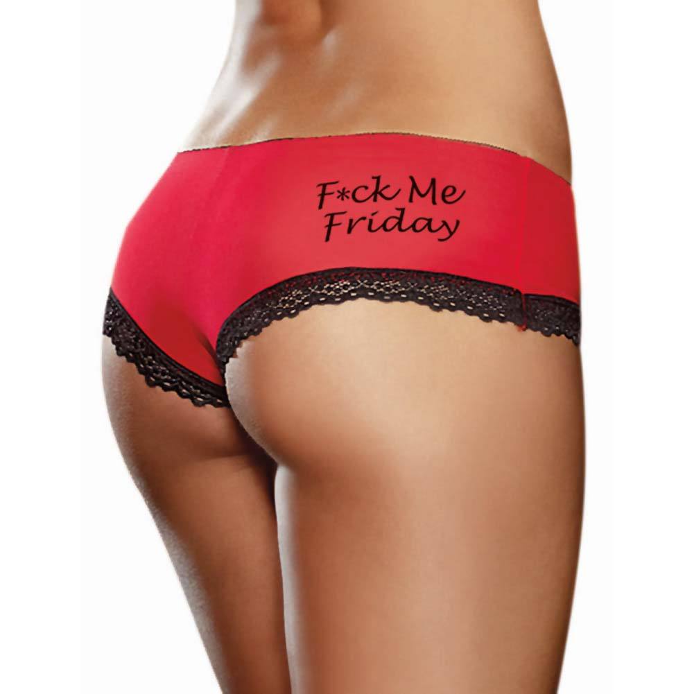 Fck Me Friday Spank Me Saturday Seduce Me Sunday Panties 3 Pack Medium Red/Black/Pink - View #1