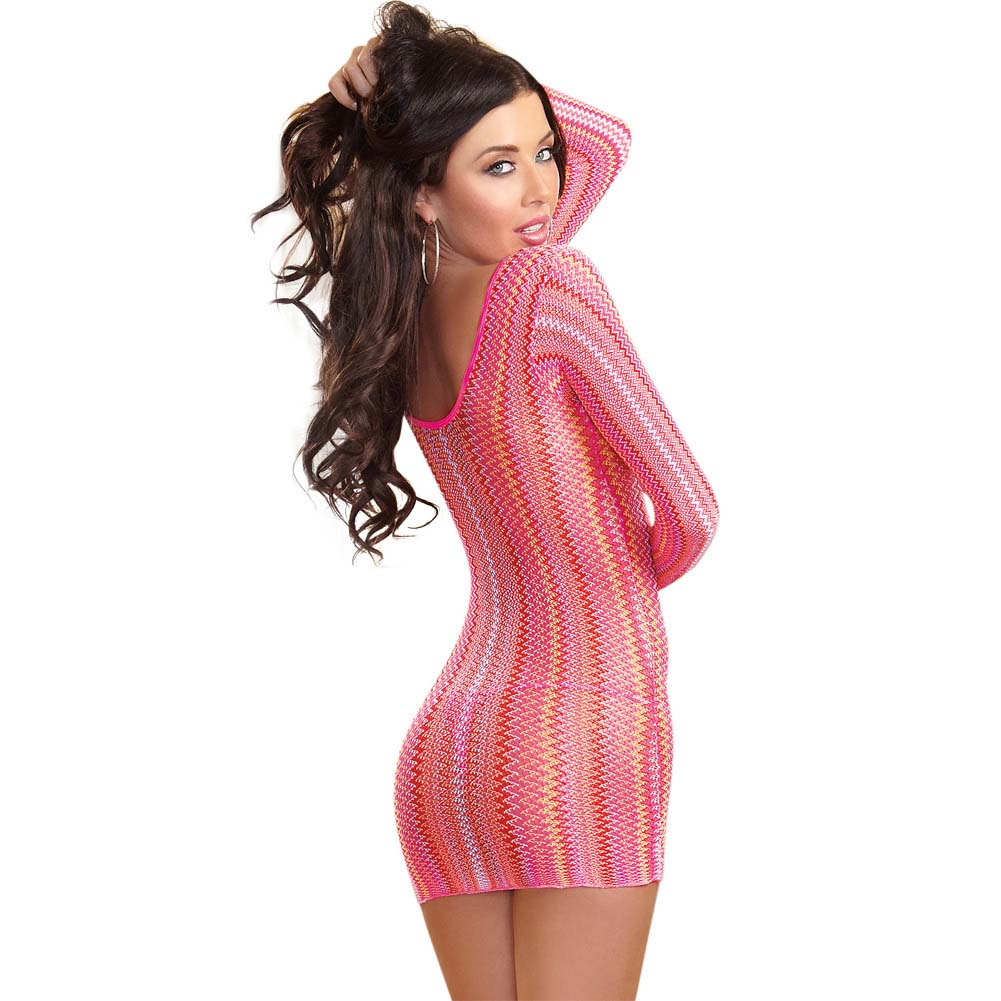 Dreamgirl Knitted Multi-Color Striped Long Sleeve Mini Dress Neon Pink One Size - View #2