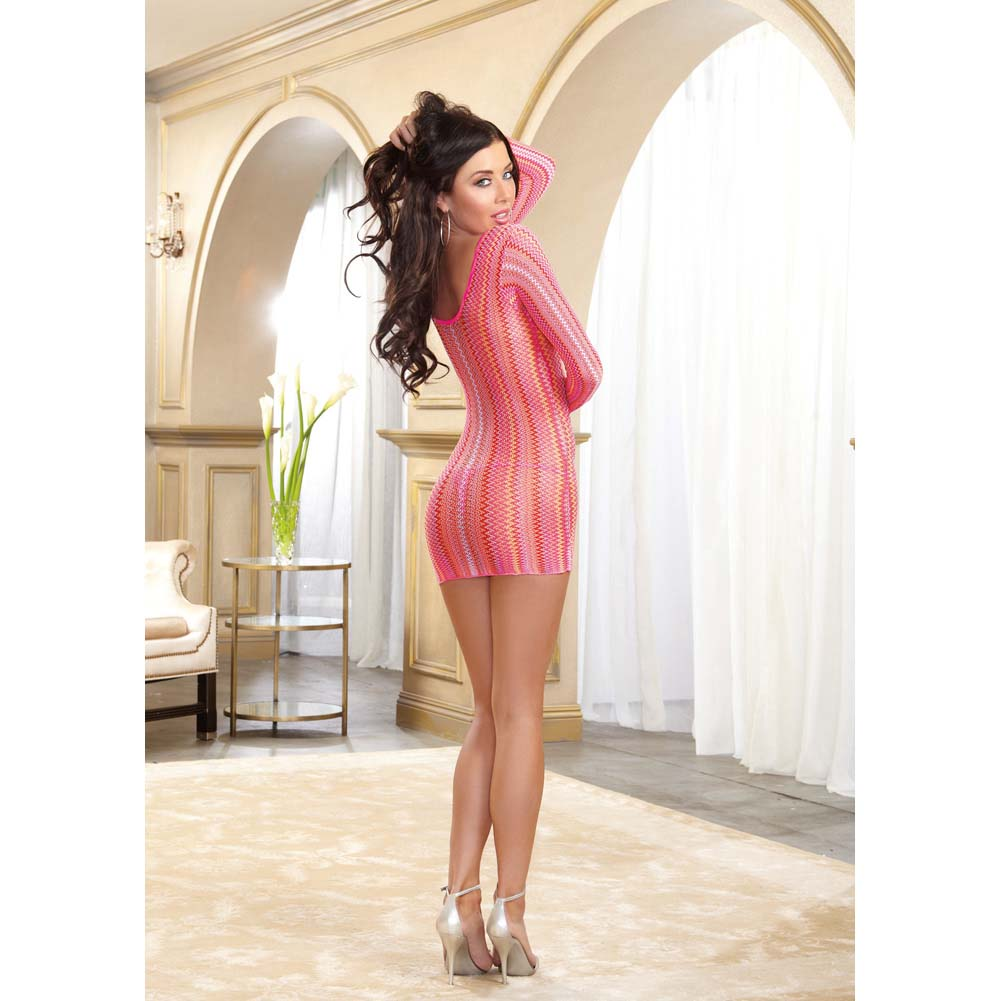 Dreamgirl Knitted Multi-Color Striped Long Sleeve Mini Dress Neon Pink One Size - View #4