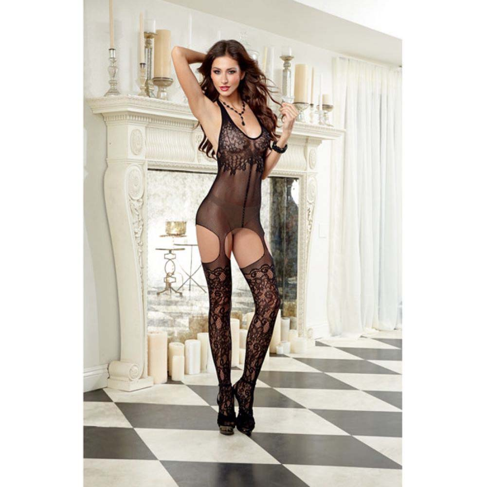 Dreamgirl Versatile Halter Fishnet Garter Dress with Attached Garters and Stockings One Size Black - View #3