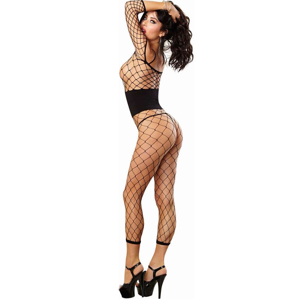 Dreamgirl Fence Net Bodystocking with Built in Opaque Waist Corset One Size Black - View #2